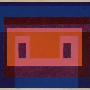Josef Albers, Variant / Adobe, 4 Central Warm Colors Surrounded by 2 Blues, 1948